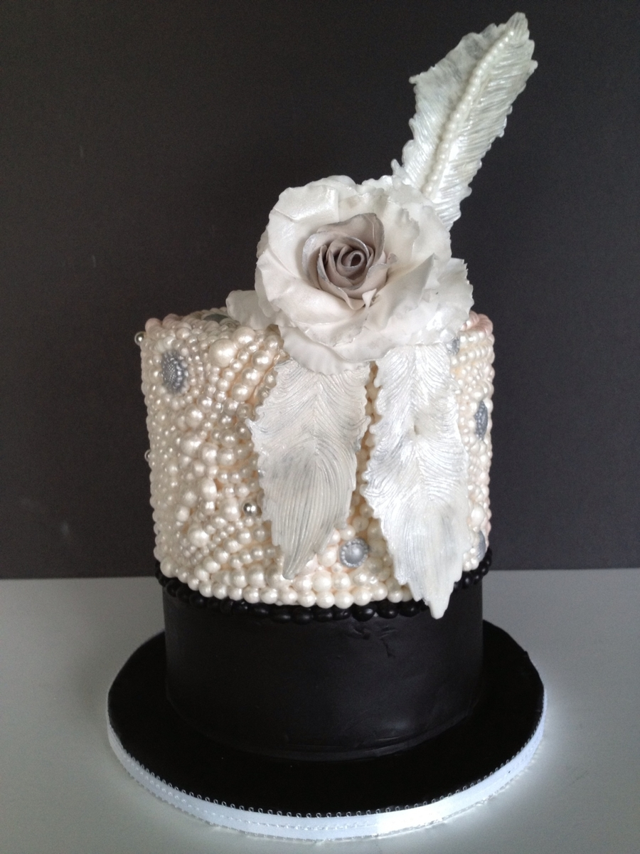Pearls And Feathers Wedding Cake on Cake Central