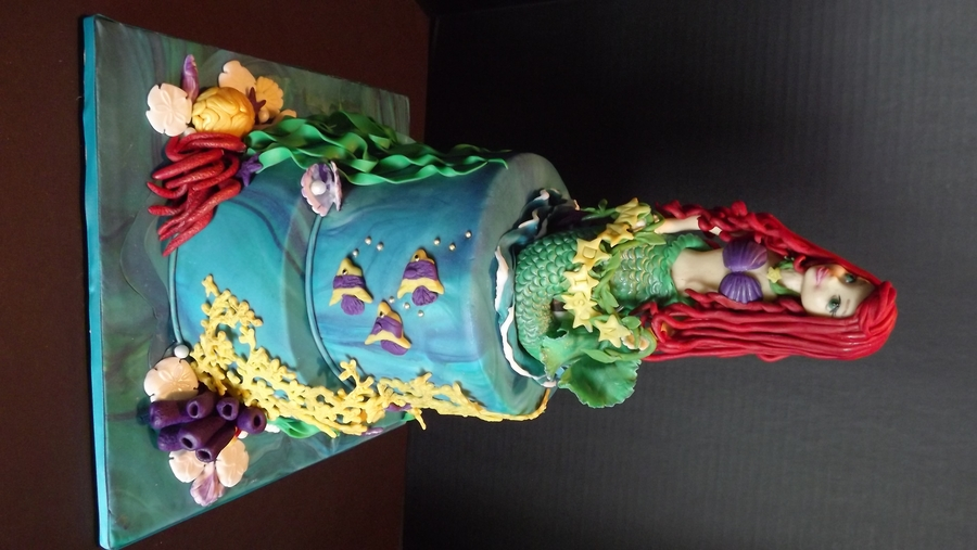 Little Mermaid Cake For 3 Year Old Madison The Shell With The Pearl Is Her Birthstone For June on Cake Central