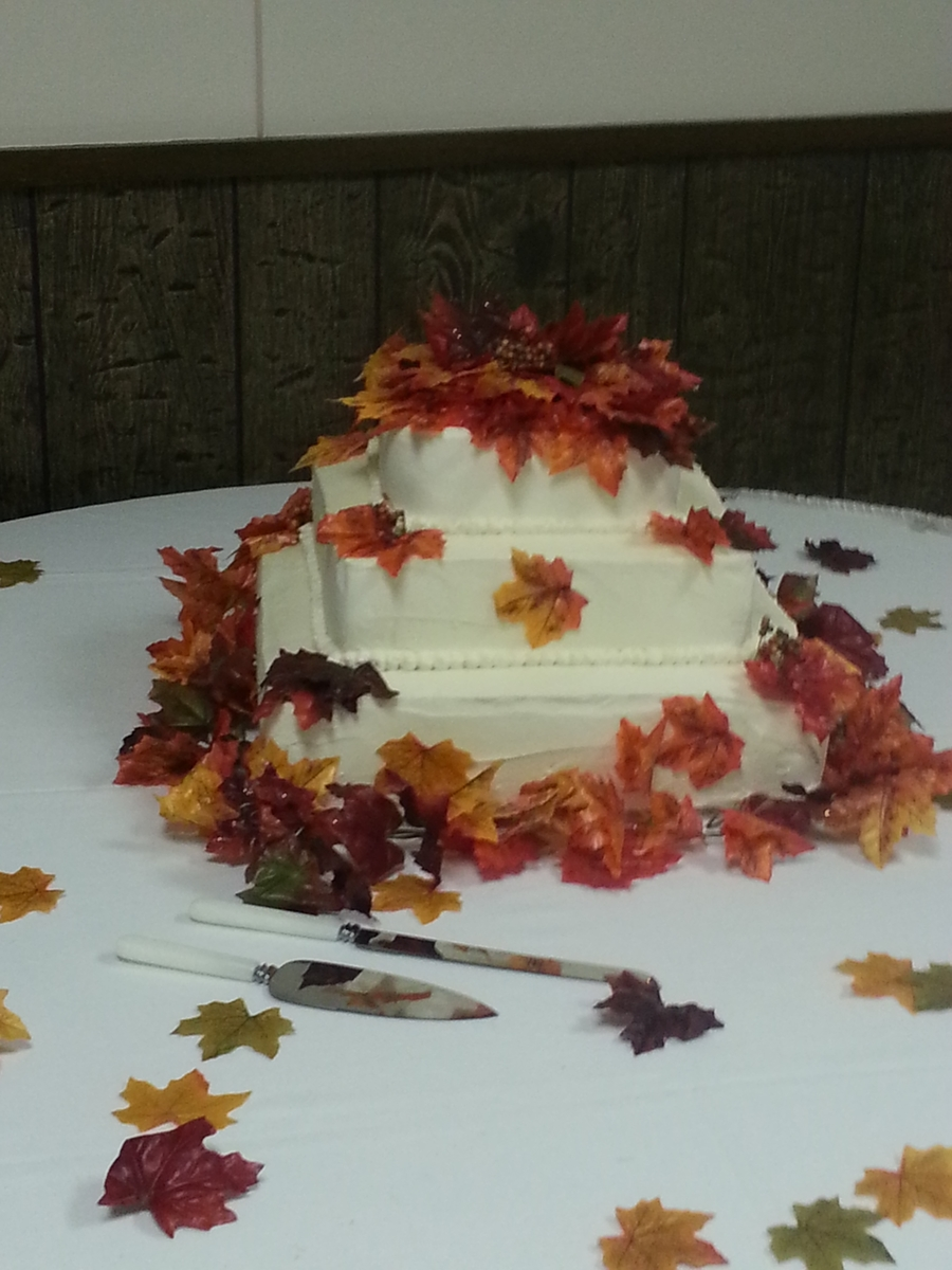 Autumn Leaves Wedding Cake on Cake Central