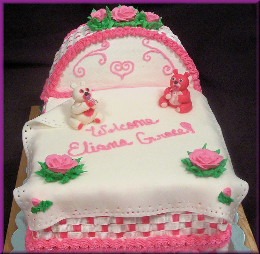 Baby Bassinet Baby Shower Cake on Cake Central