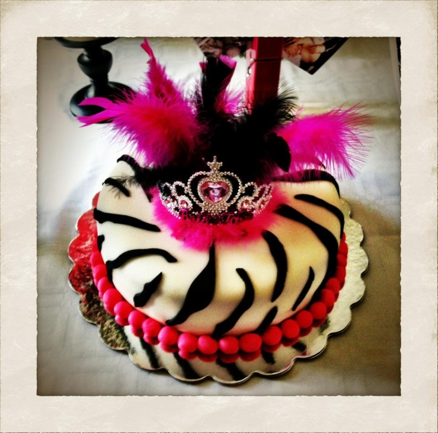 Pink & Zebra Bachelorette Cake on Cake Central