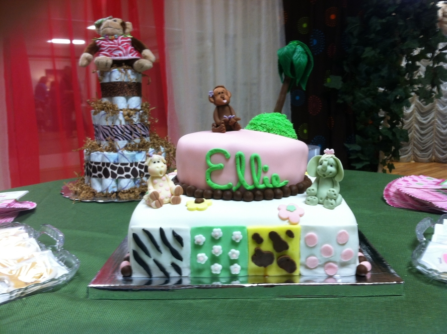 Jungle Jill Baby Shower Cake on Cake Central