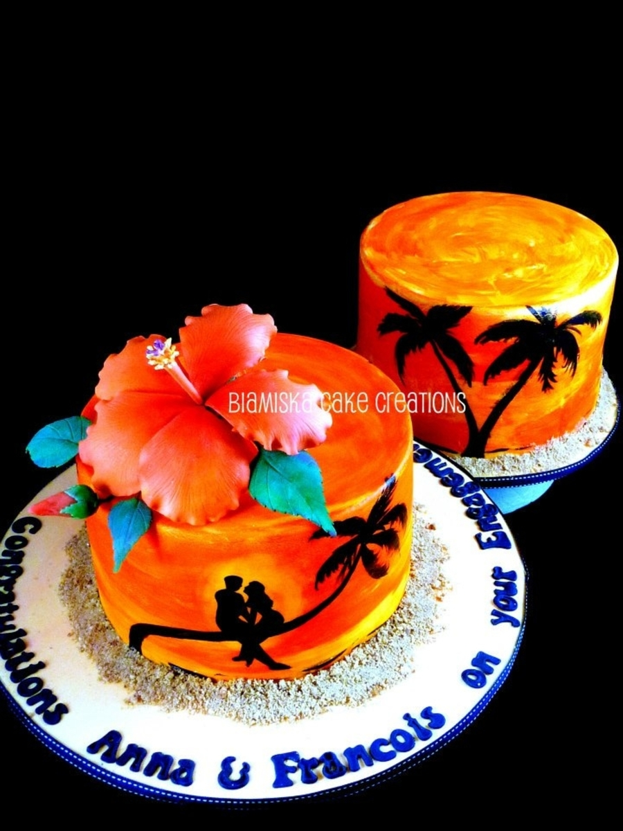 Sunset Engagement Cake Cakecentral Com