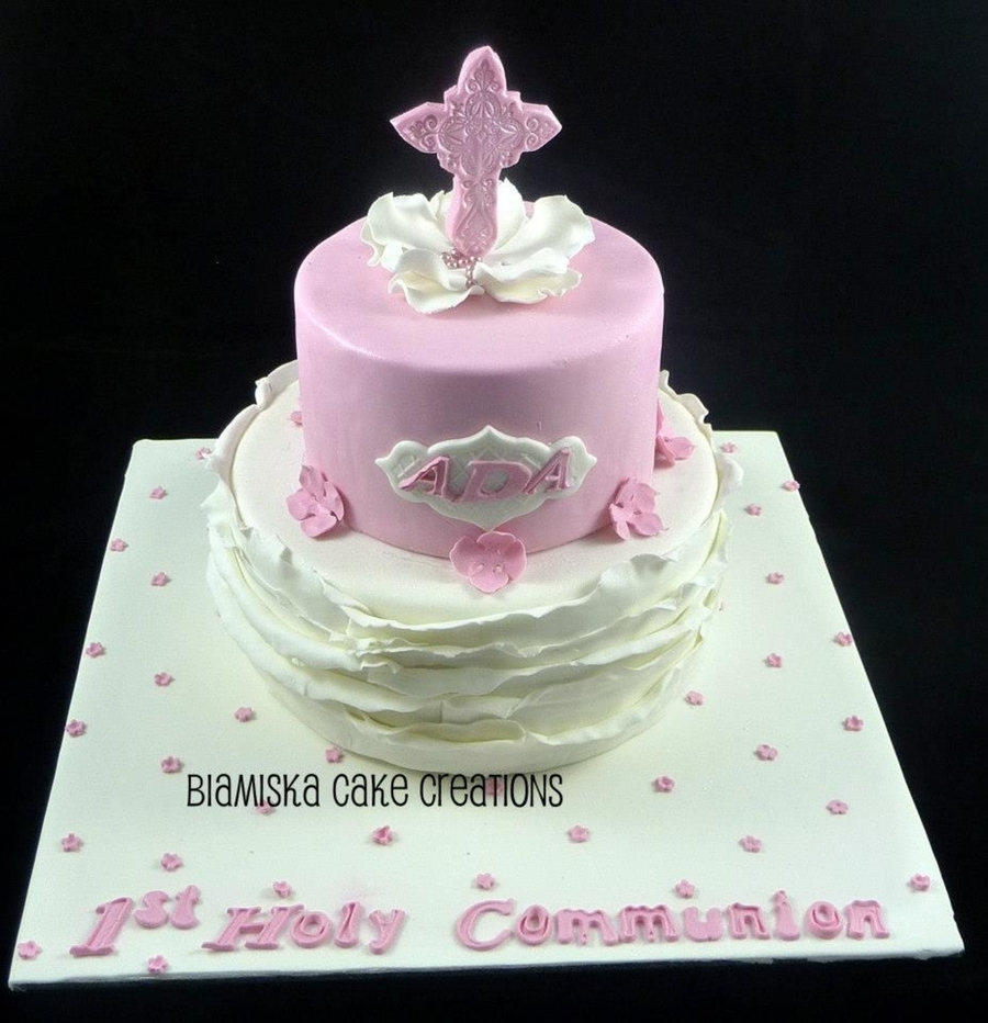 Gorgeous Pink Communion Cake on Cake Central