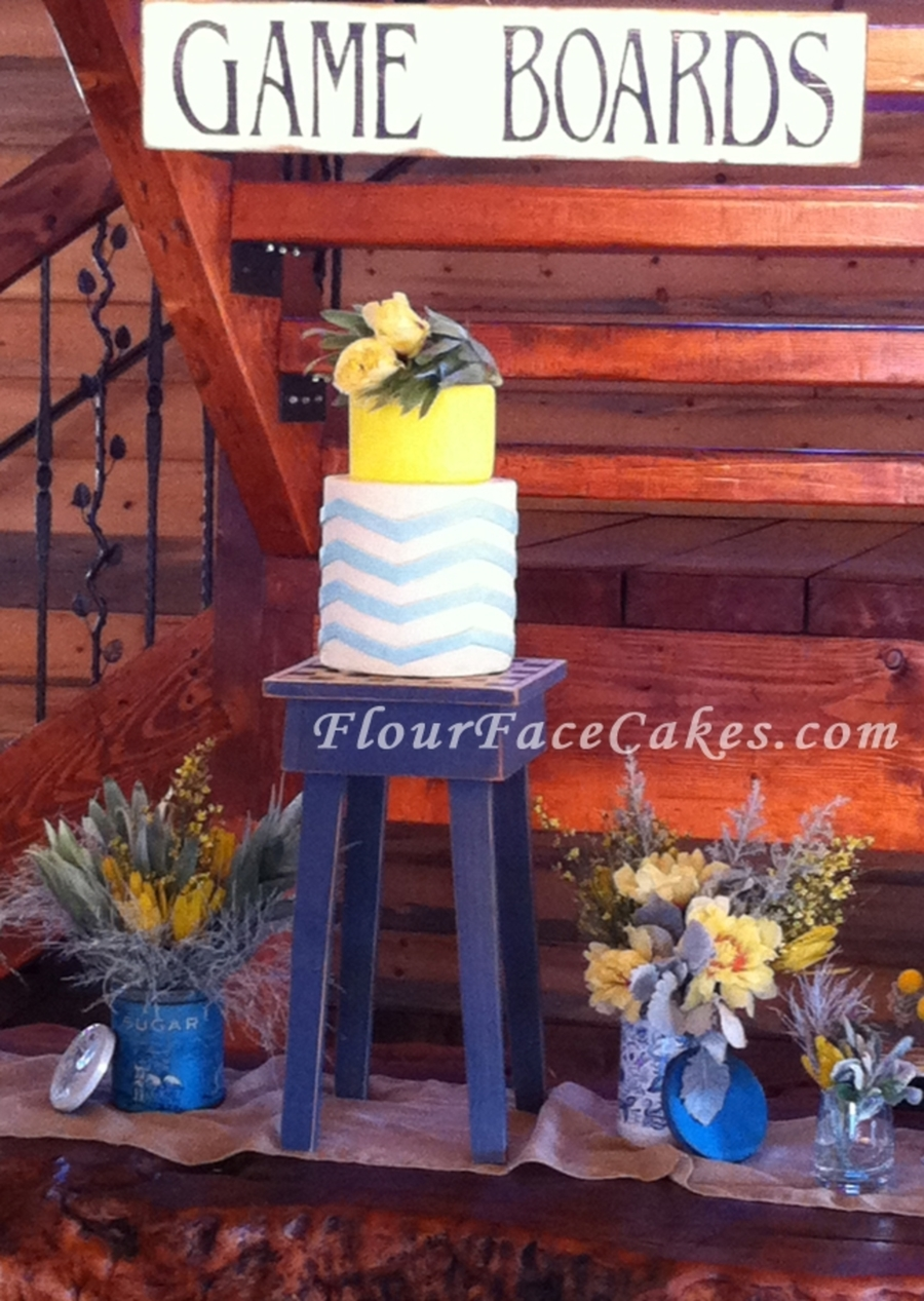 Blue And Yellow Vintage Chevron Stripes on Cake Central