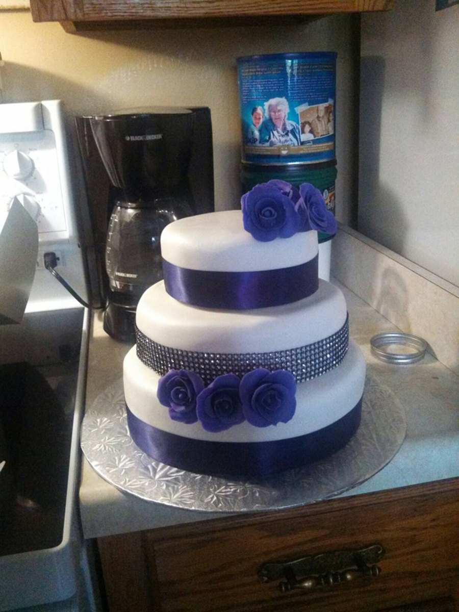 Vanilla Cake Vanilla Buttercream Purple Fondant Roses Rhinestone Ribbon  on Cake Central