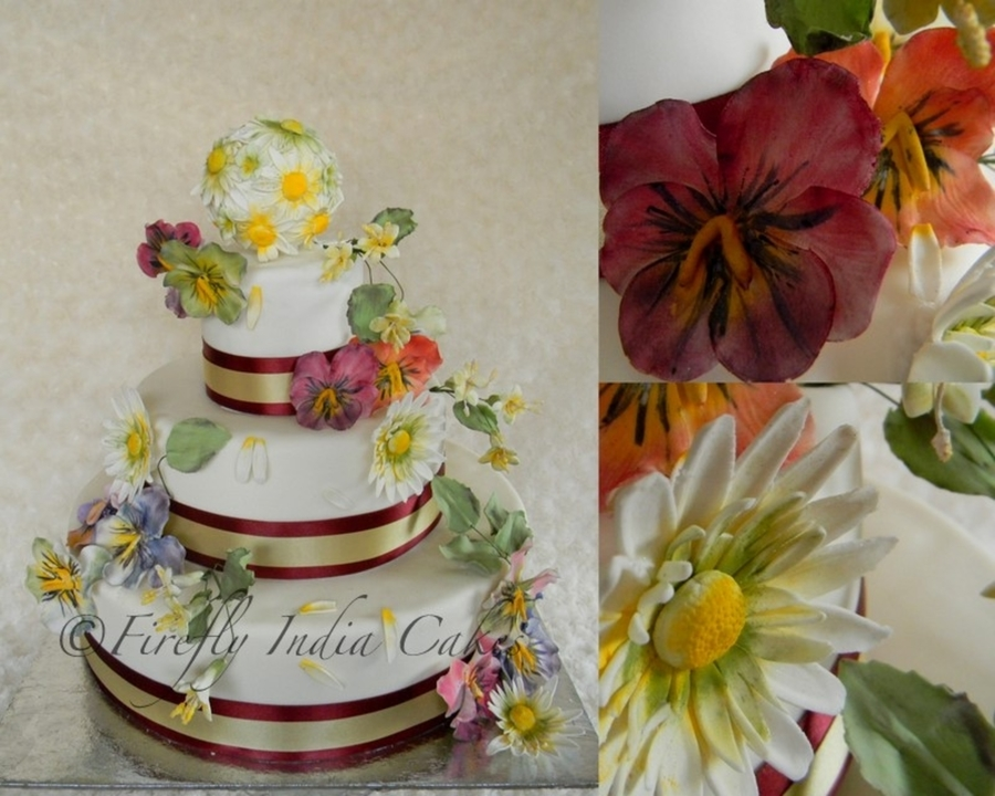 Pansies, Daisies & Stephanotis  on Cake Central