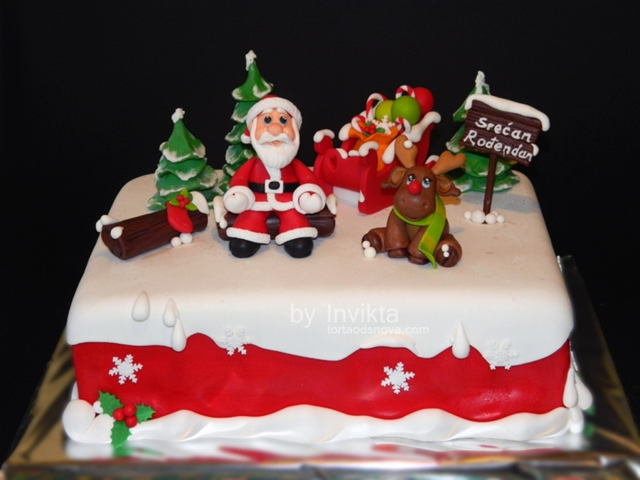 Christmas Themed Birthday Cake - CakeCentral.com