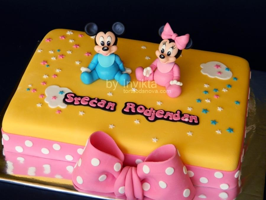 Baby Mickey And Minnie Birthday Cake CakeCentralcom