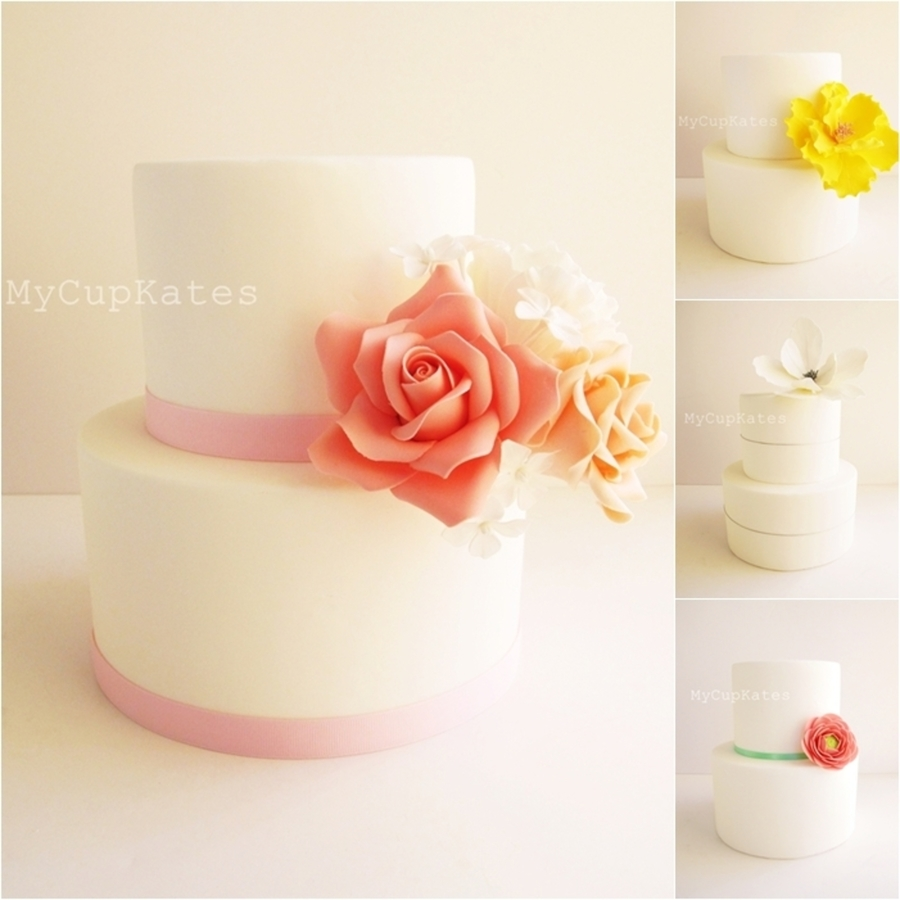 Simple Sugar Flower Cakes on Cake Central