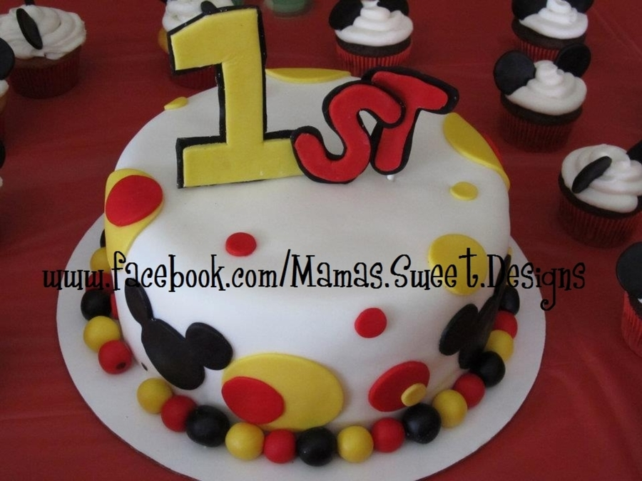 Pleasing Mickey Mouse 1St Birthday Cake Cakecentral Com Personalised Birthday Cards Veneteletsinfo