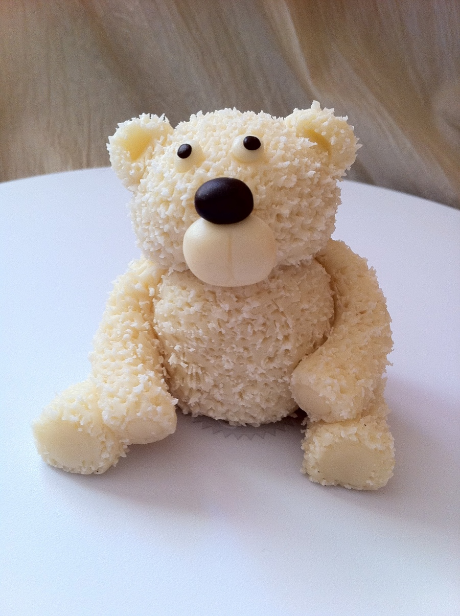 White Chocolate Fuzzy Bear  on Cake Central