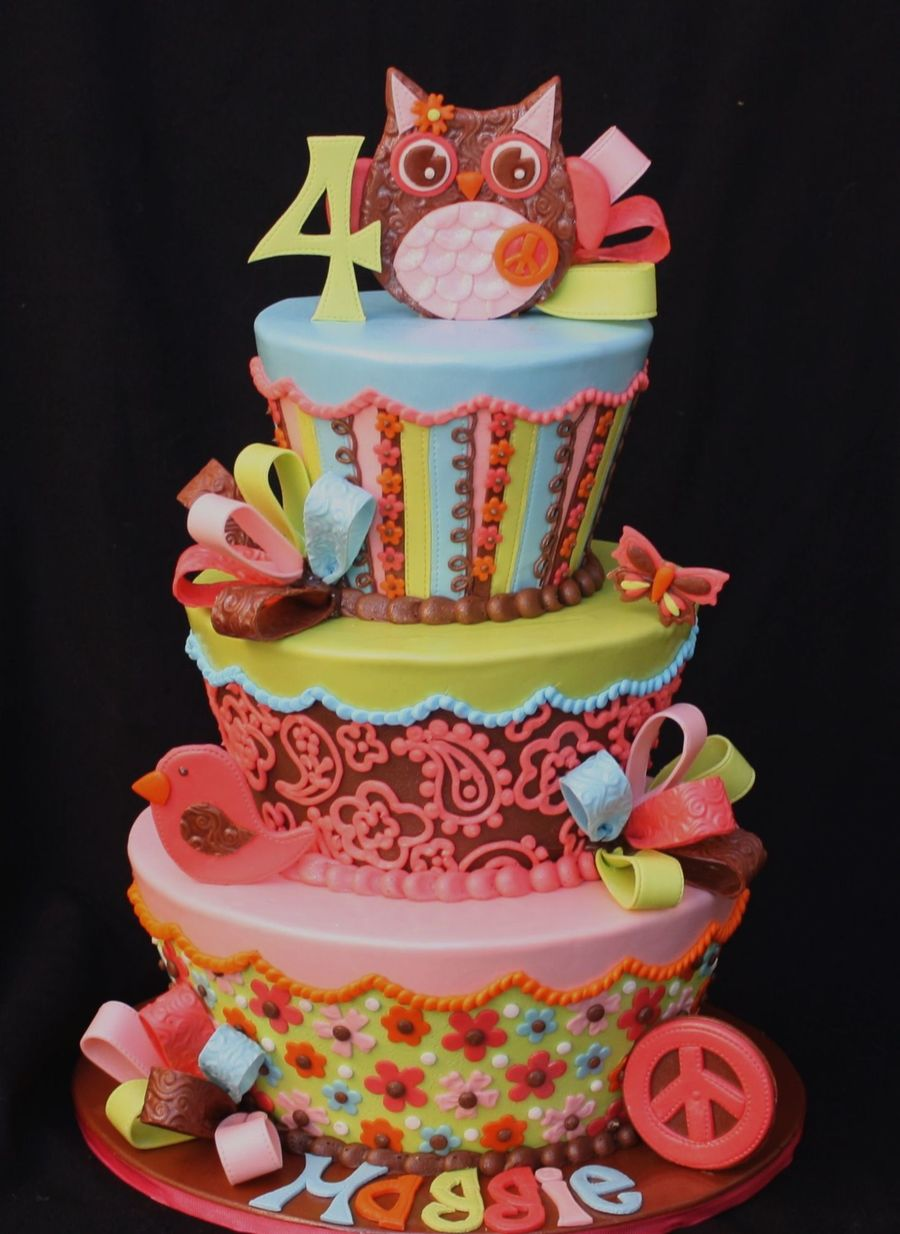 Groovy Owl 4Th Birthday Cake on Cake Central