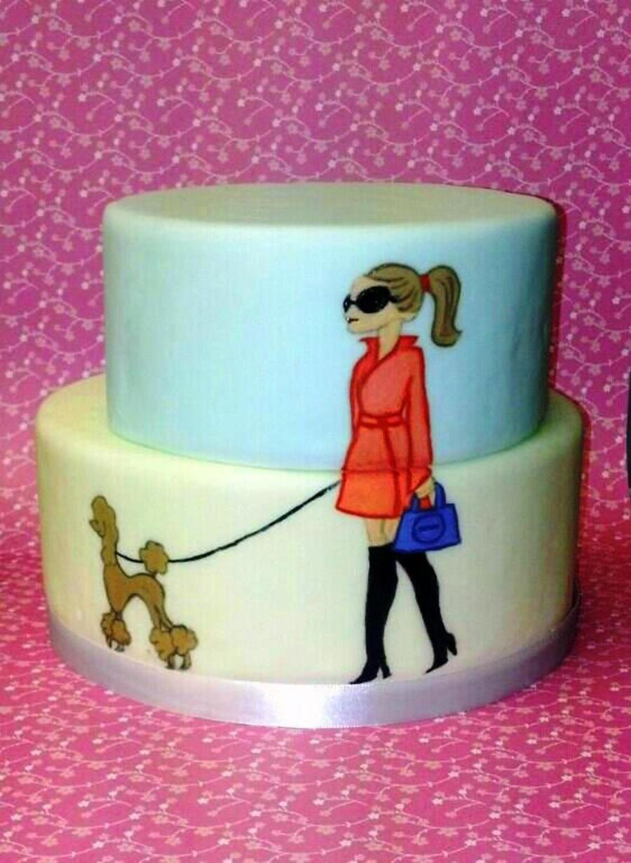 Two Tier Fondant Cake With Hand Painted Details A Fabulous Girl And Her Dog Fondant Is Satin Ice And I Used Gel Food Colors For The Pa on Cake Central