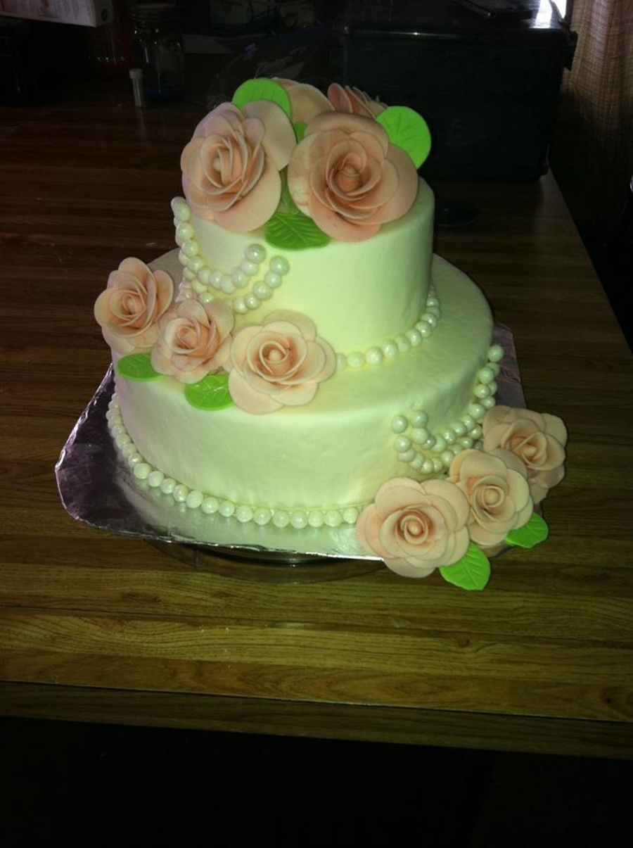 Wedding Cake With Gumpaste Flowers And Pearls on Cake Central