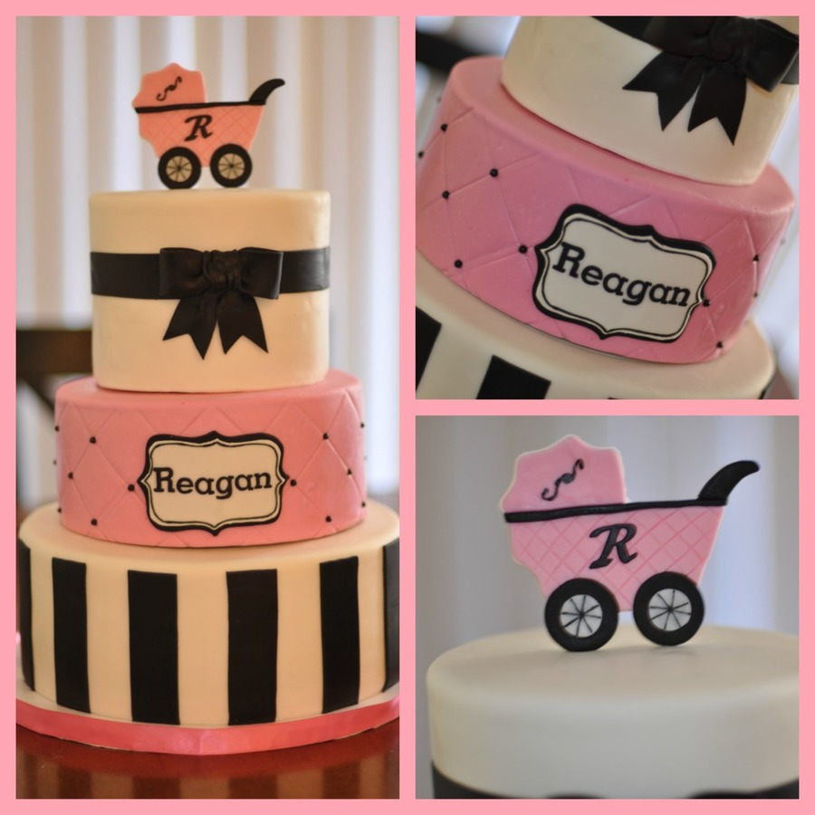 Pink Black White Baby Shower Cake Cakecentral