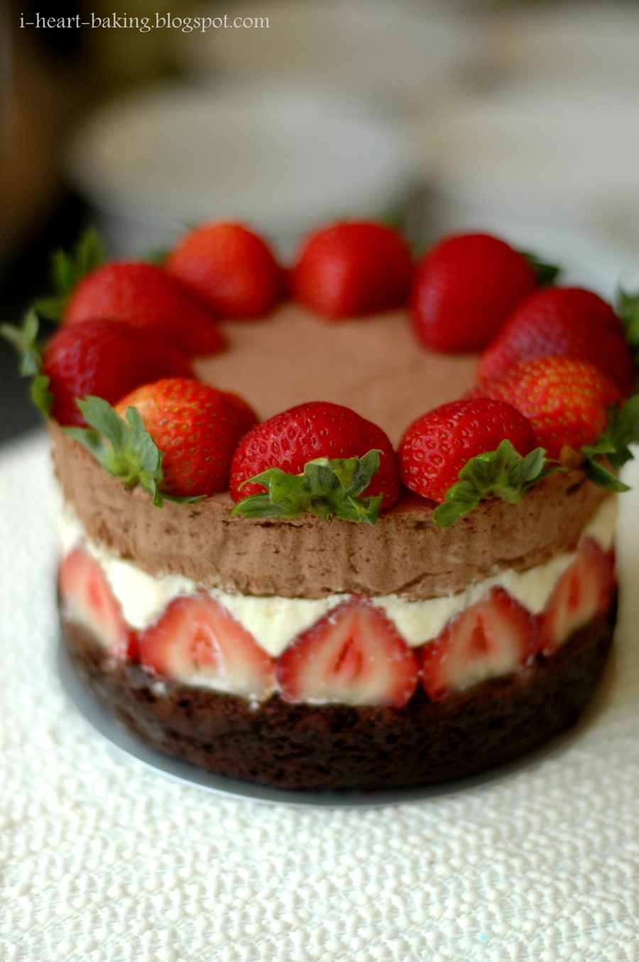 Triple Chocolate Mousse Cake With Strawberries - CakeCentral.com