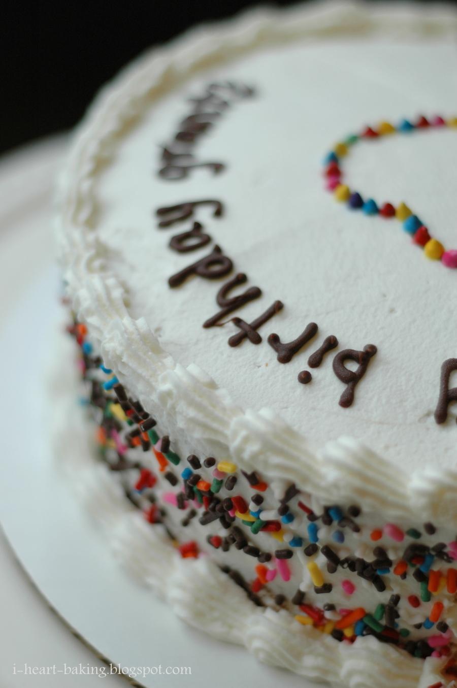 Rainbow Sprinkles Birthday Cake With Heart Surprise