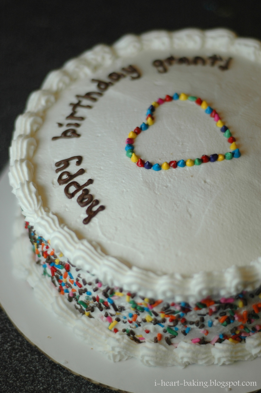 Rainbow Sprinkles Birthday Cake With Heart Surprise