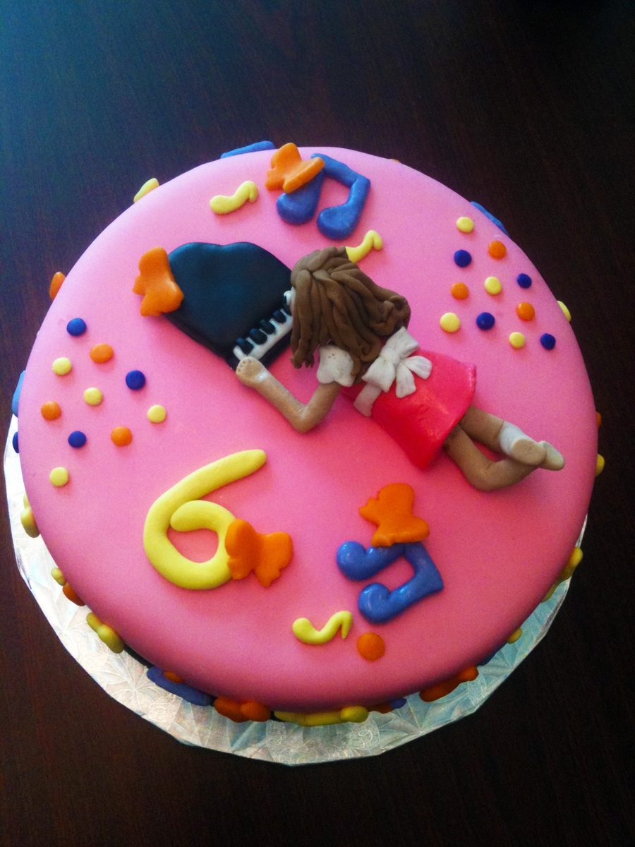 Piano Girl 6Th Bday Cake - CakeCentral.com