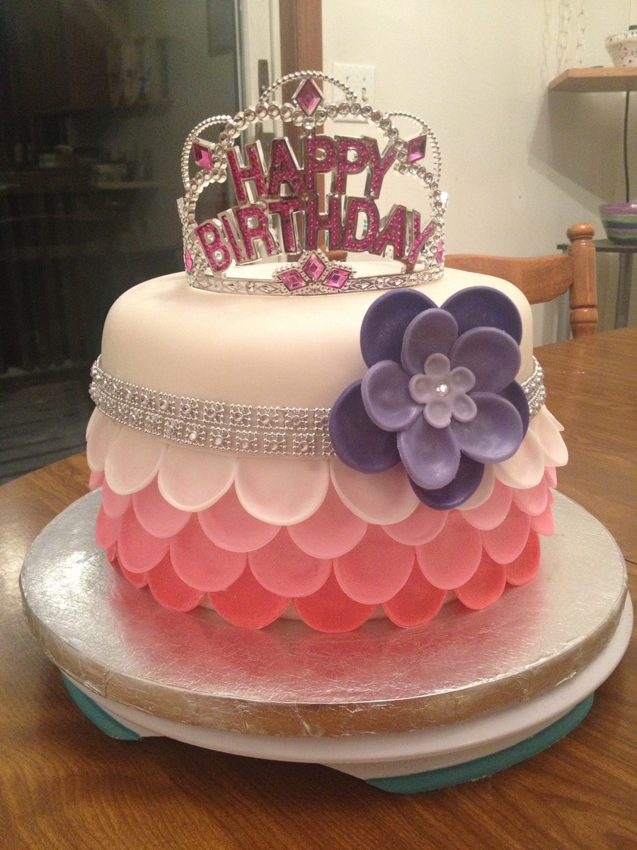 My First Attempt At A Petal Cake Made For A Doctor I Work For His Daughters 5Th Birthday on Cake Central