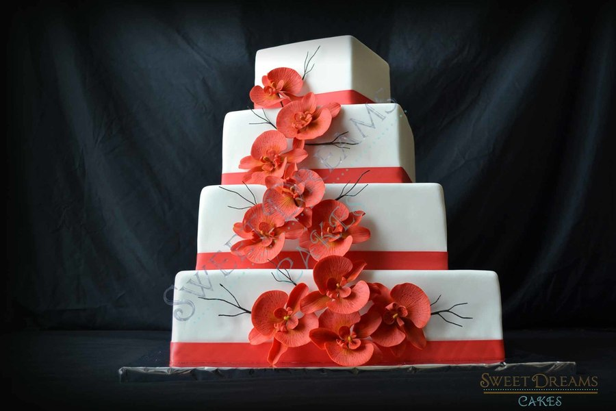 Coral Orchid Wedding Cake. on Cake Central