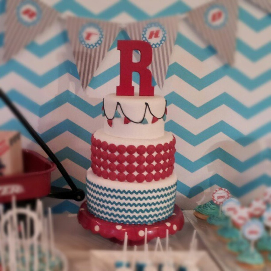 Red And Teal Chevron Cake on Cake Central