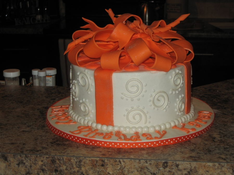 Orange And White Gift Cake on Cake Central