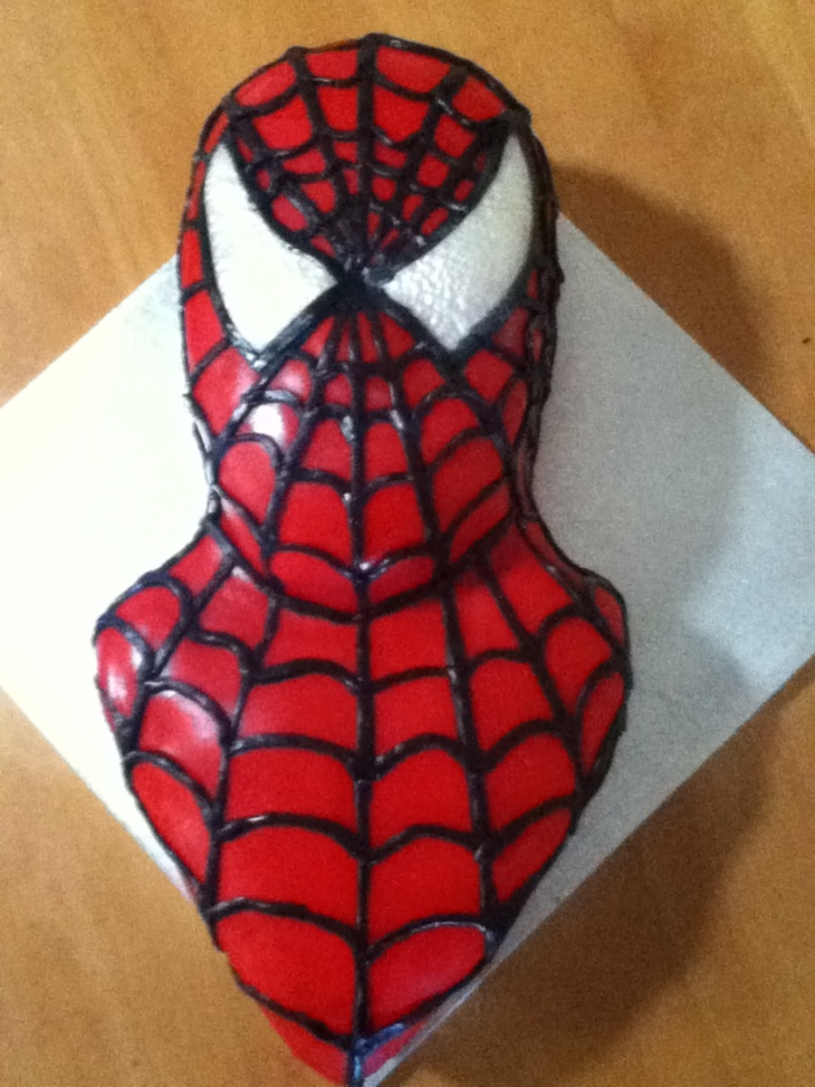 Spiderman Cake Chocolate Mud Cake Carved And Covered In Fondant Then Decorated With Modelling Chocolate  on Cake Central