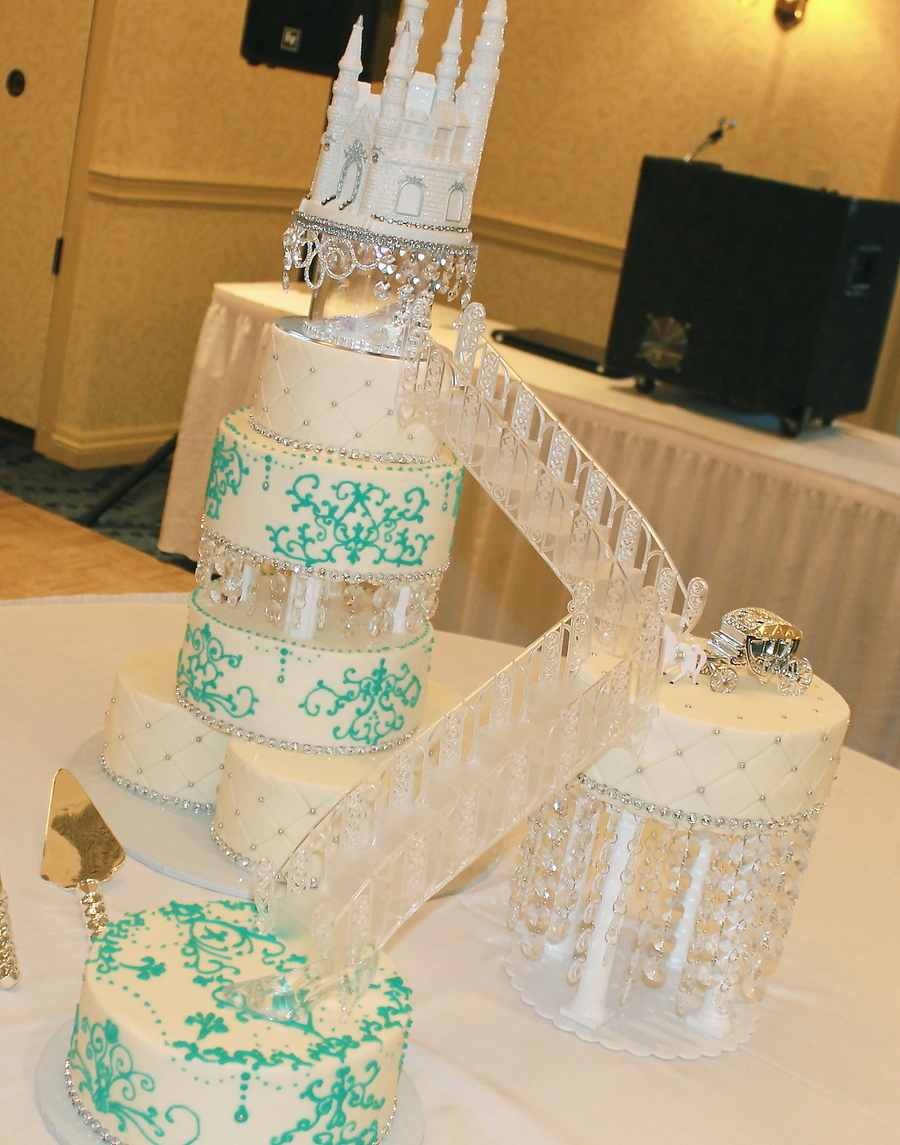 Princess Cake Wedding Castle Staircase Bling