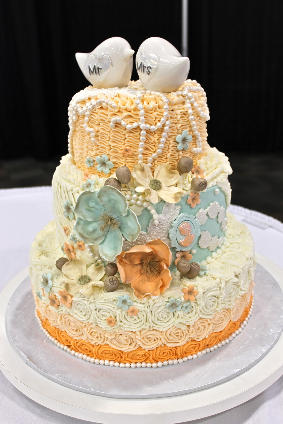 Shabby Chic Wedding Cake Mint Peach Wedding Cake Ruffles Lace And ...