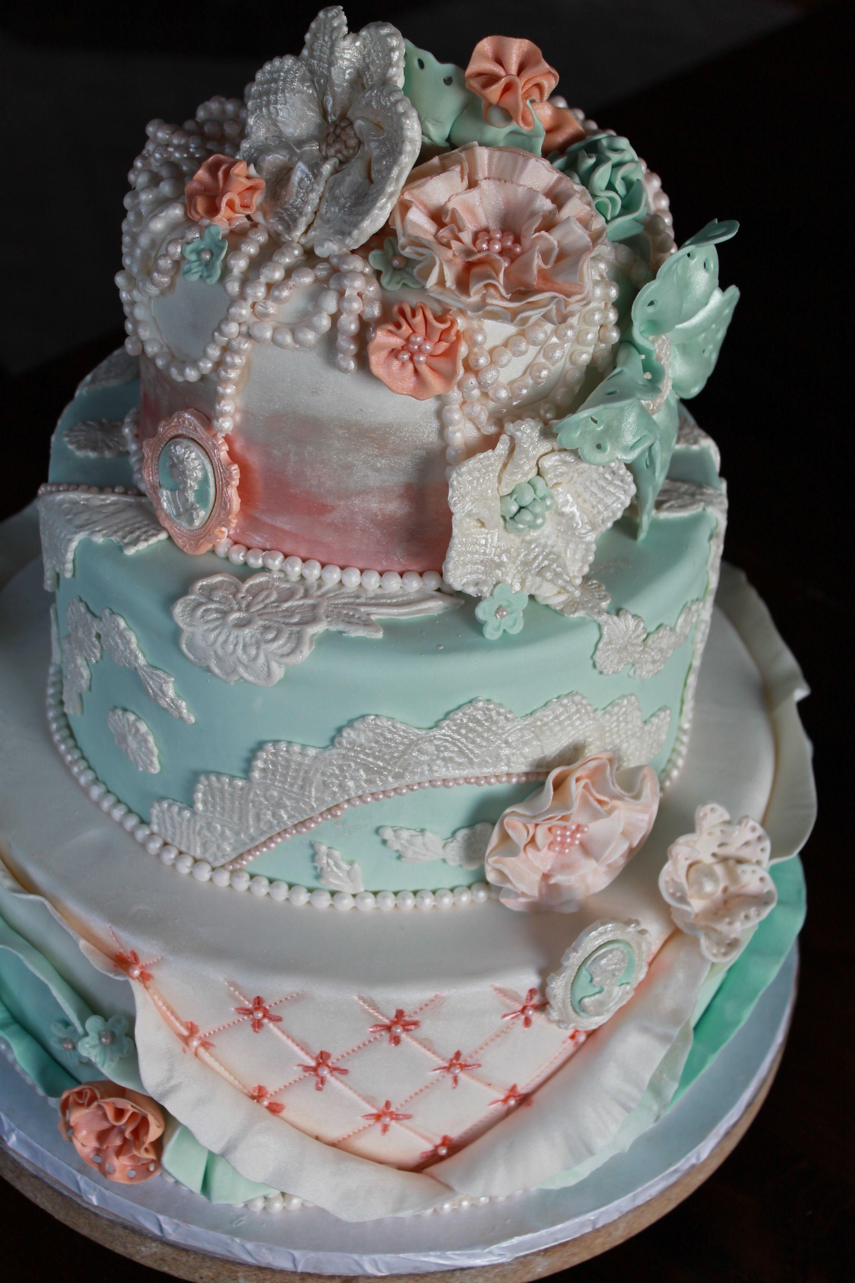Shabby Chic Wedding Cake; Lace Cake; Ruffle Cake; Vintage Cake; Gumpaste  Fabric Flowers; Gumpaste Camio; Pearl U0026 Flower Topper