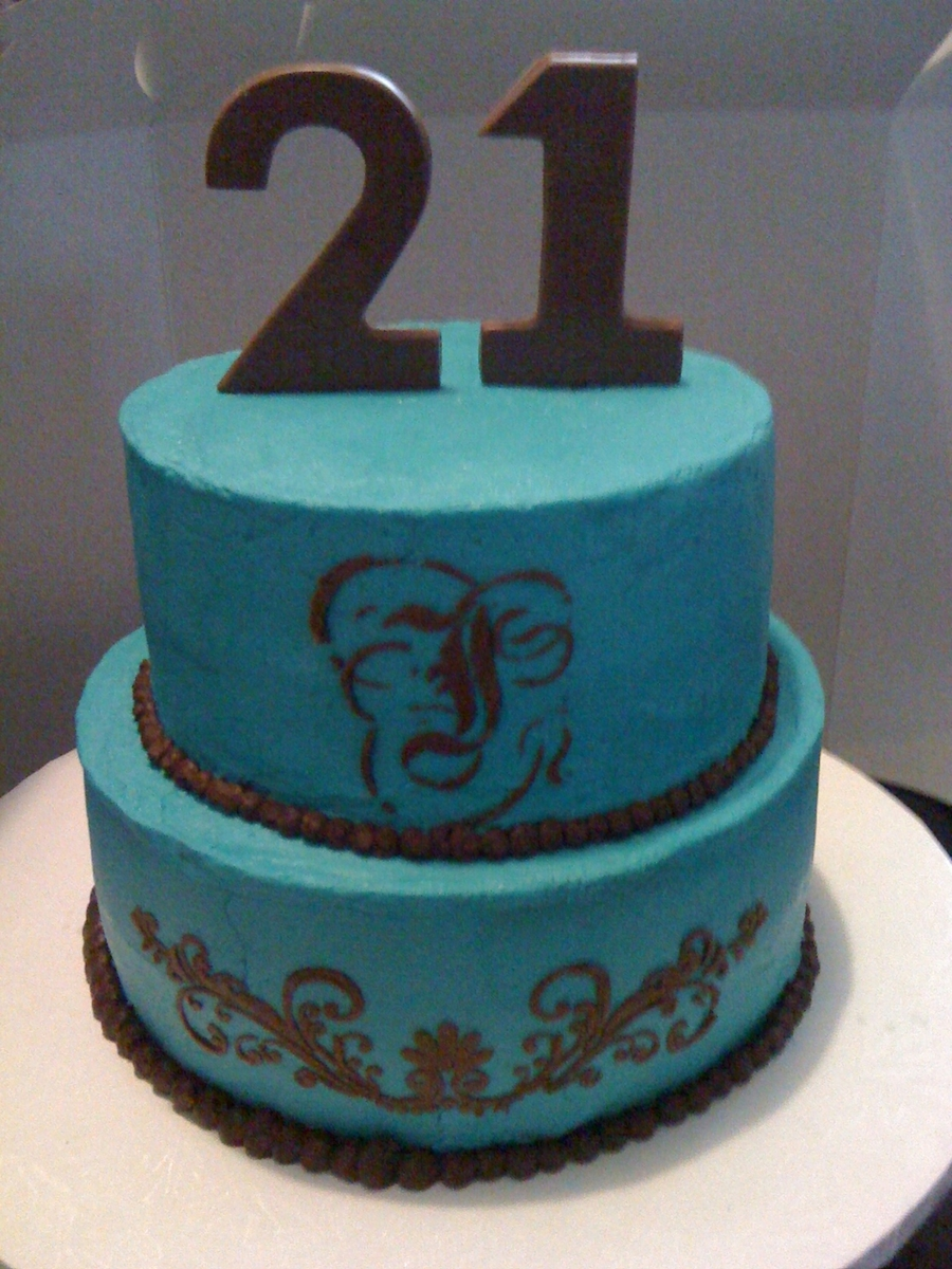 Tiffany Blue With Chocolate Stencil on Cake Central