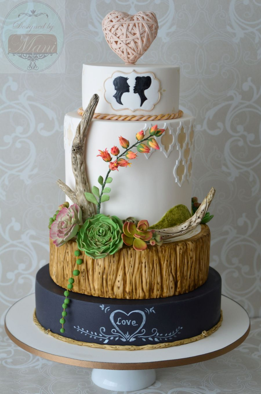 Wedding Cake Inspired By Driftwood Chalkboard Amp Succulents