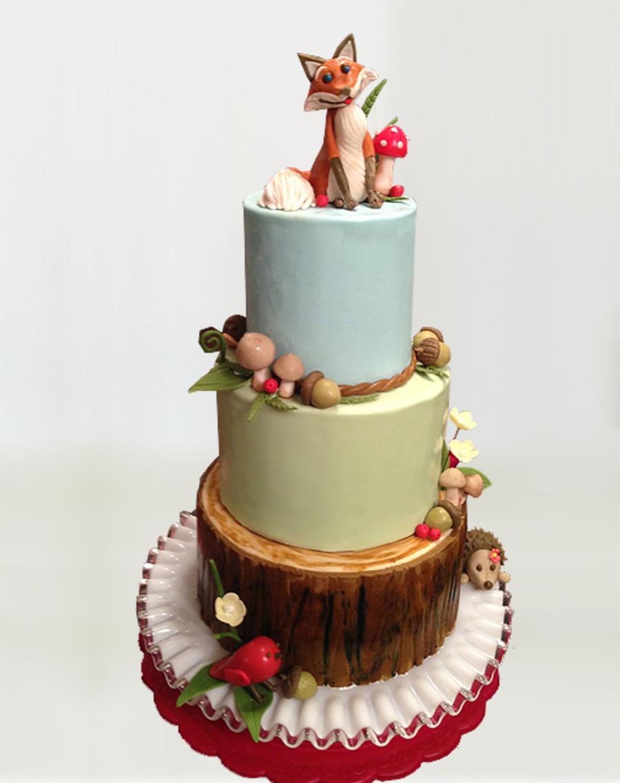 Rustic Woodland Animals Cake