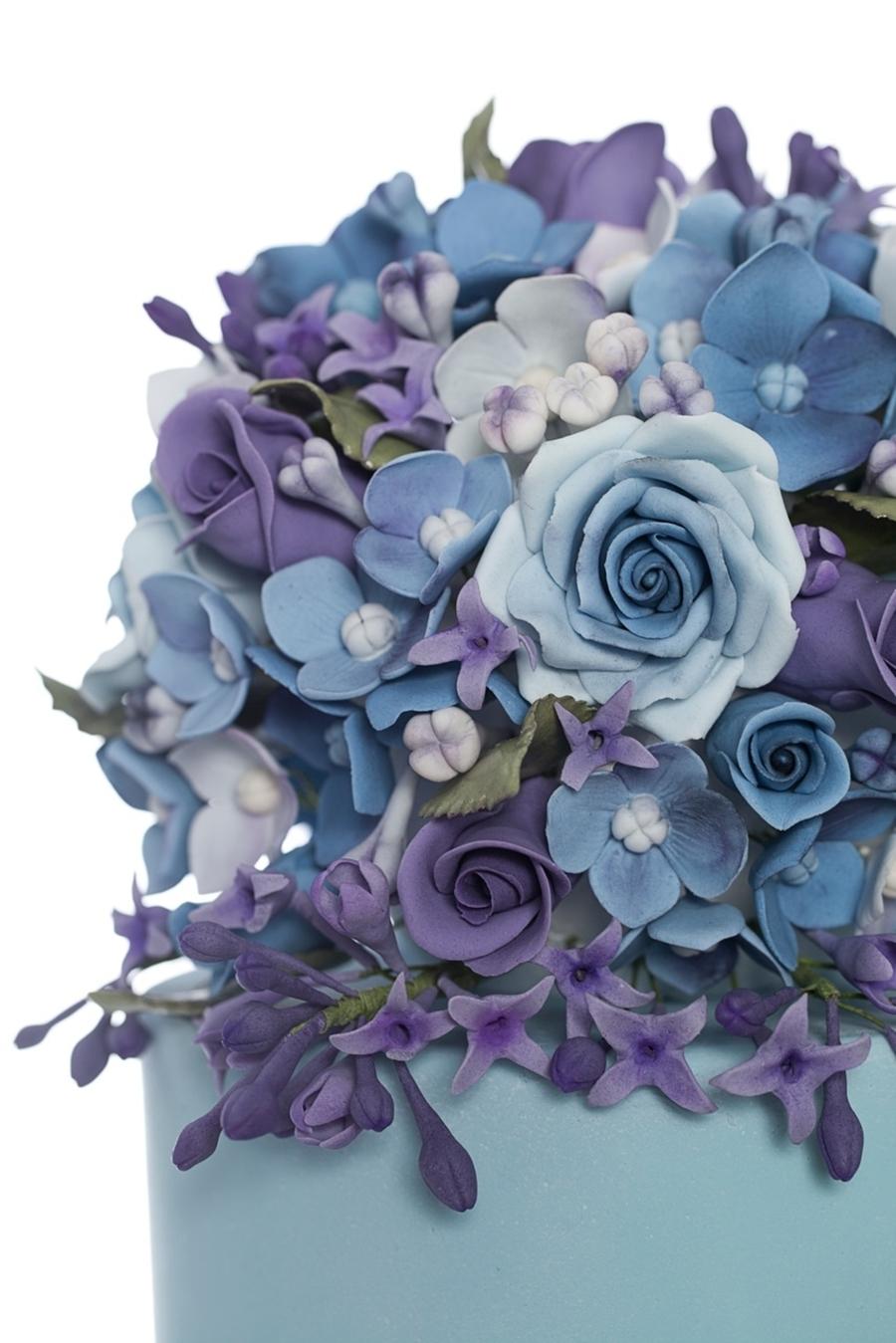 Purple And Blue Wedding Cake - CakeCentral.com