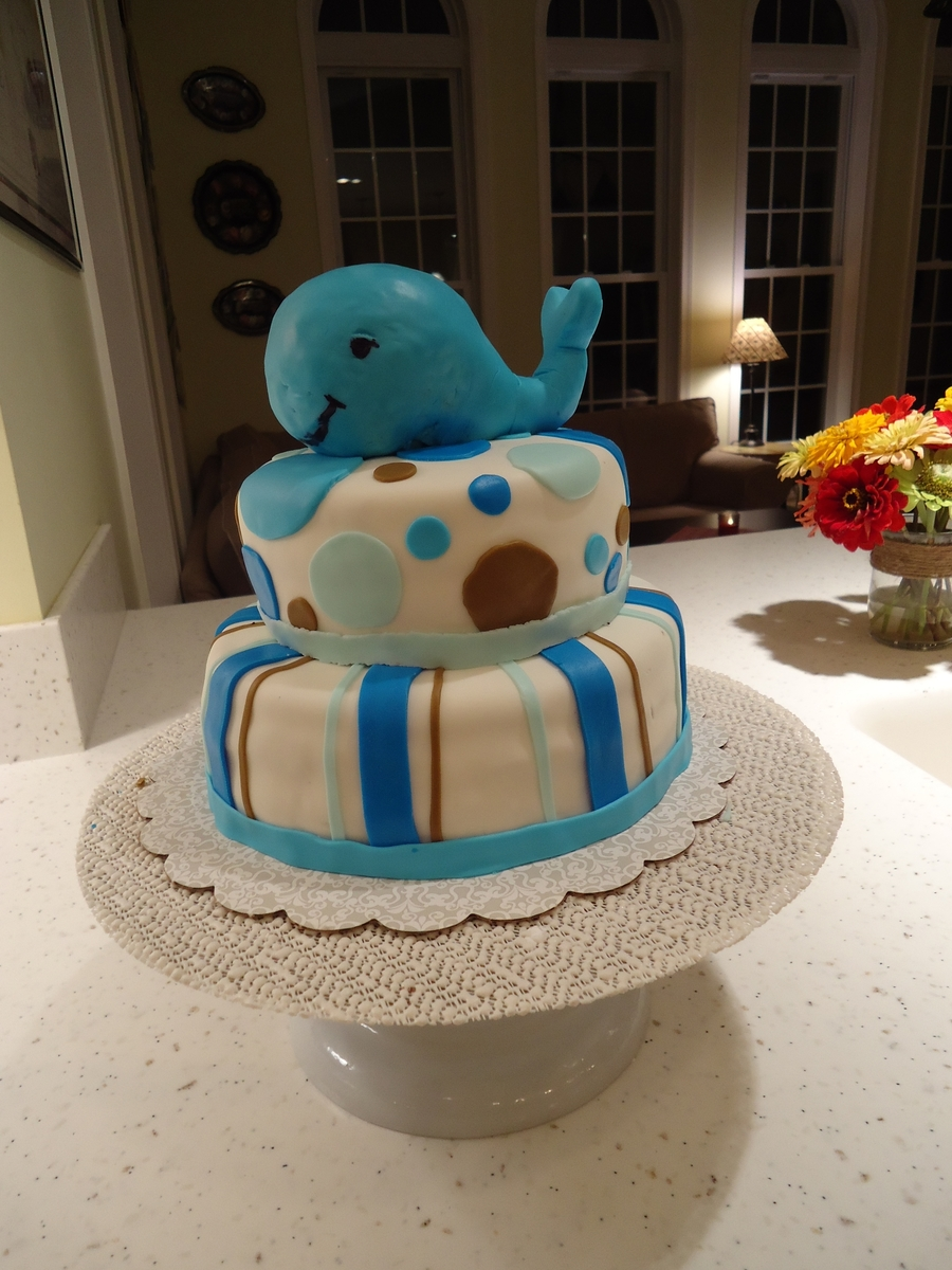 Whale Boys Baby Shower Cake on Cake Central