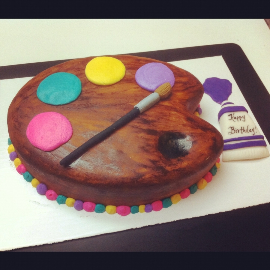 Sweet Art Cake Classes : Artist s Palette Birthday Cake - CakeCentral.com