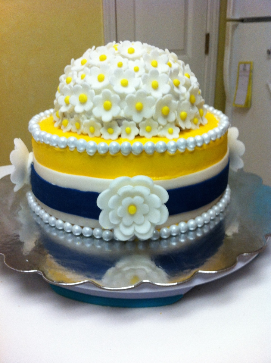 Navy And Yellow Themed Bridal Shower Cake - CakeCentral.com