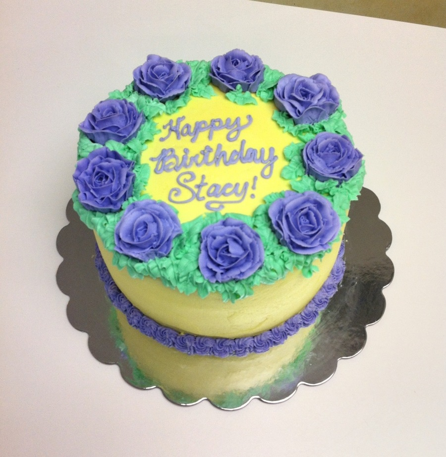 Ring Of Rosies Birthday Cake In Lavender And Pale Yellow. on Cake Central