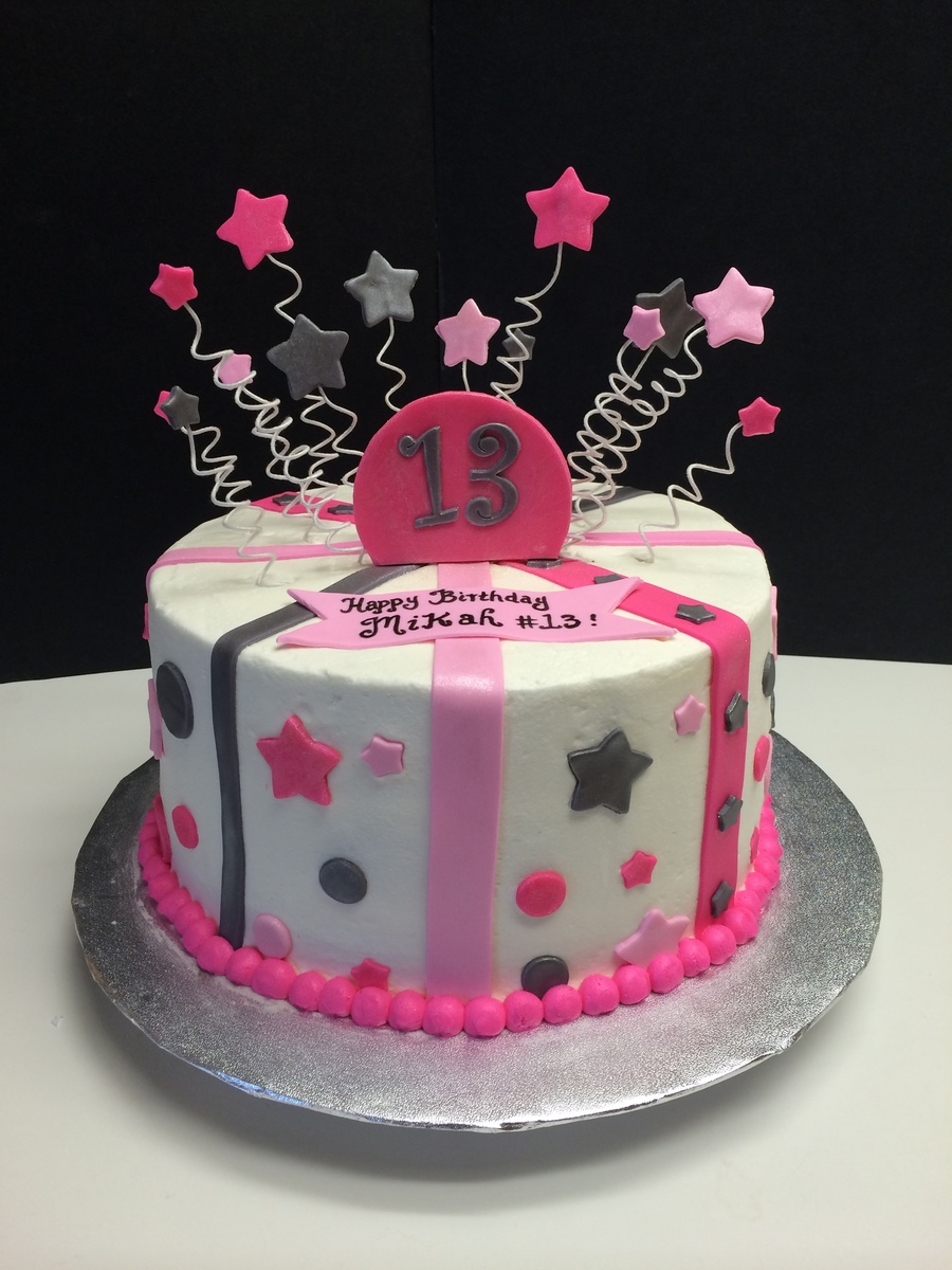13th Birthday Cake With Stars Stripes And Polka Dots Pink And