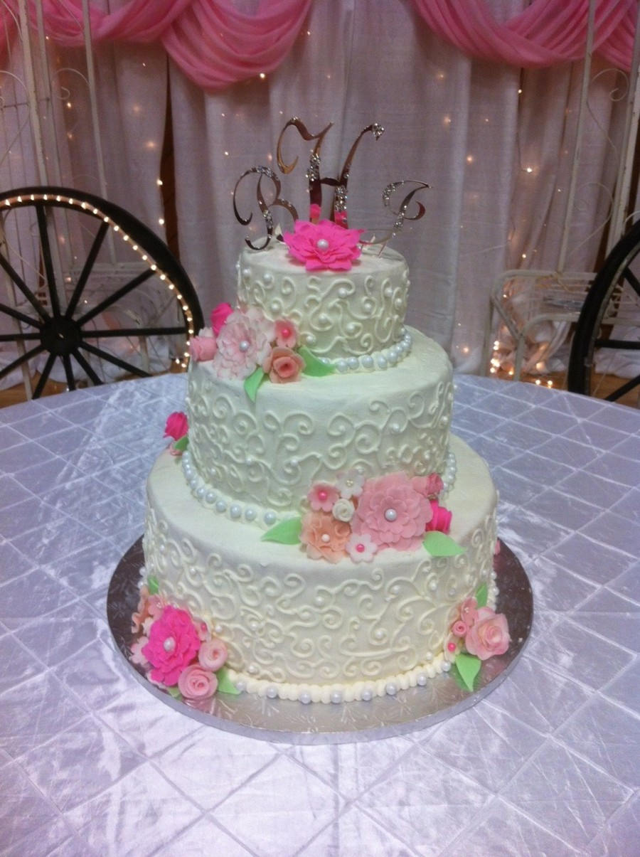 Wedding Cake With Pink Fondant Flowers Cakecentral