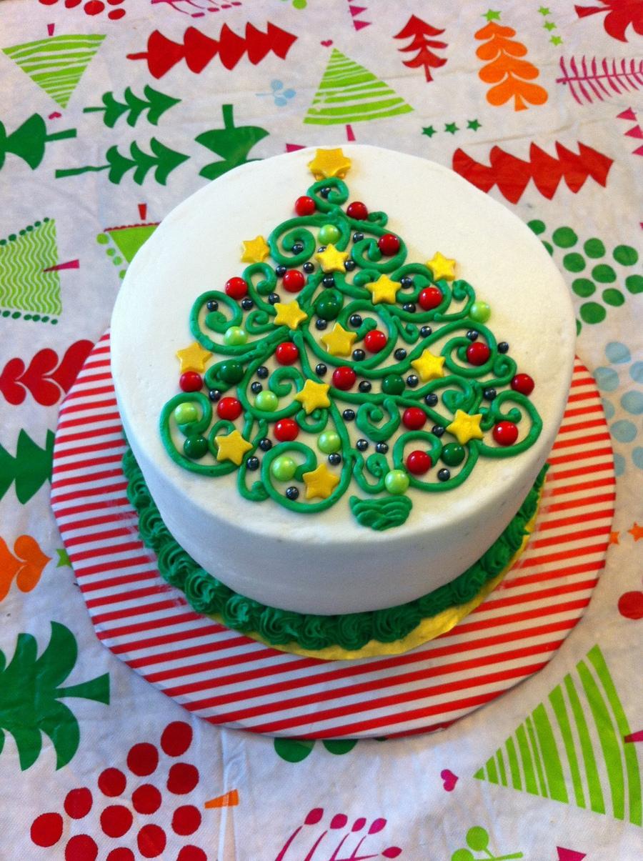 Swirly Christmas Tree Cake Cakecentral Com