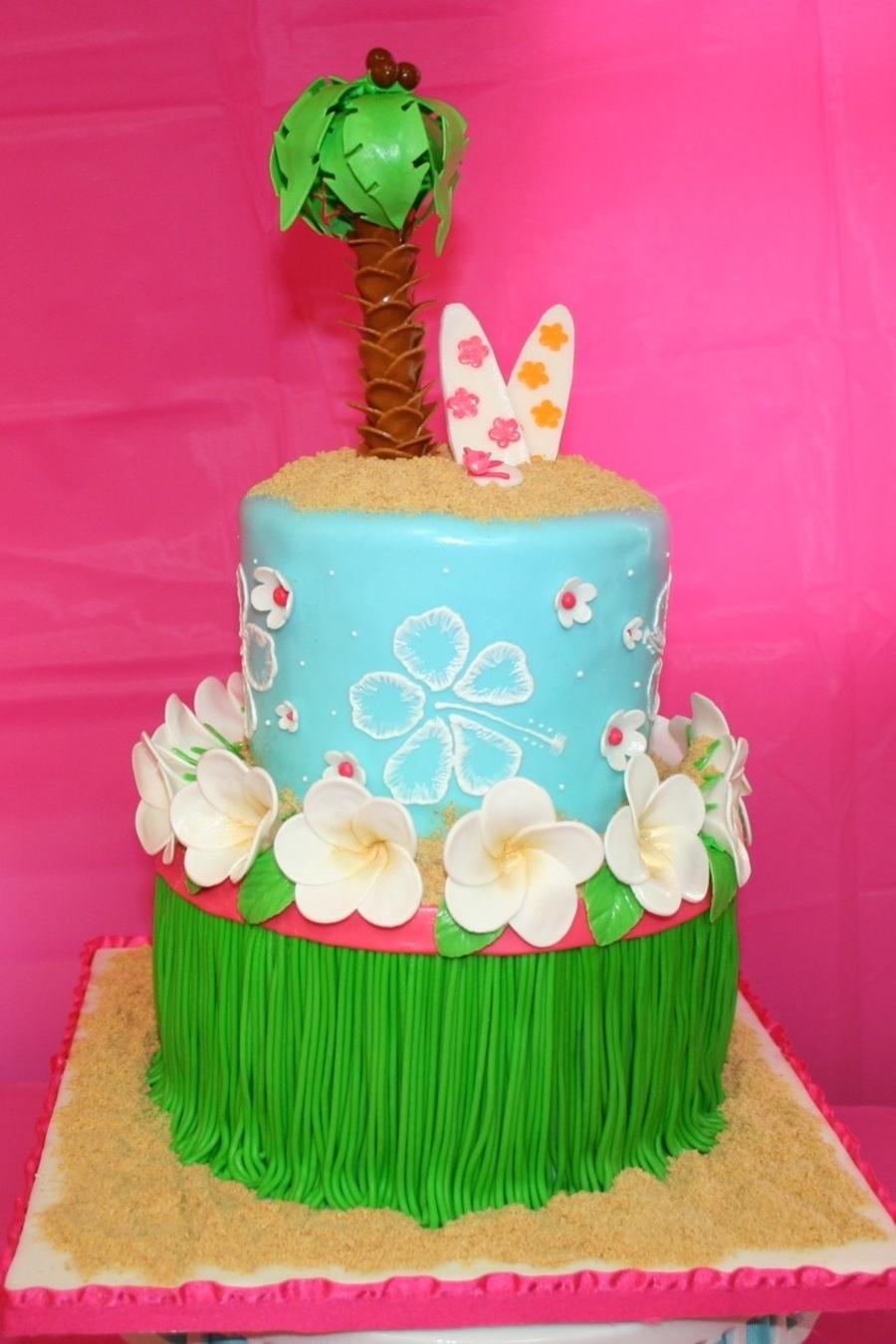 Hawaiian Girl Birthday Cake