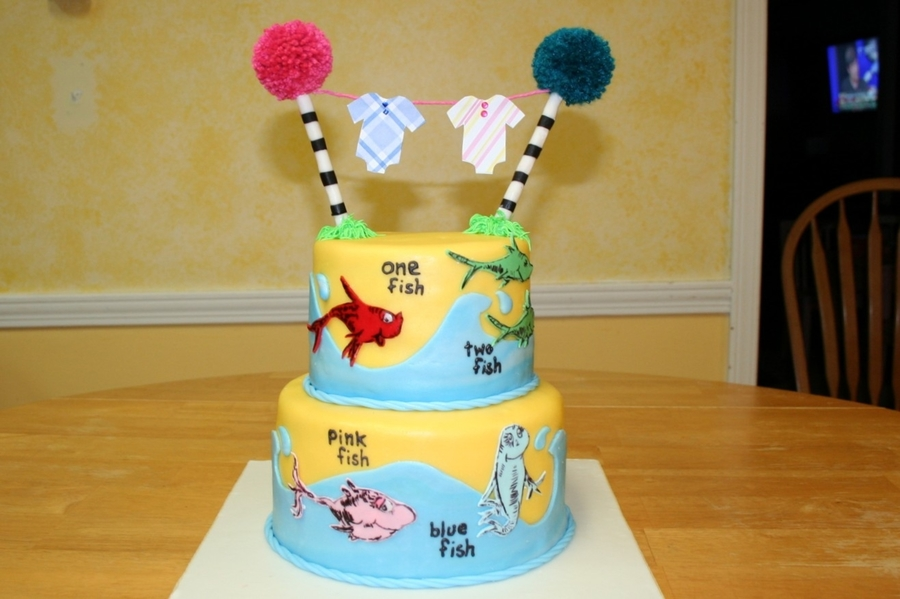 Wonderful Dr. Seuss Cake For A Friend Having Twins, A Boy And A Gir. Plan A Was To  Use Cotton Candy For The Truffula Trees, But The Humidity In The Air Melted  Them ...