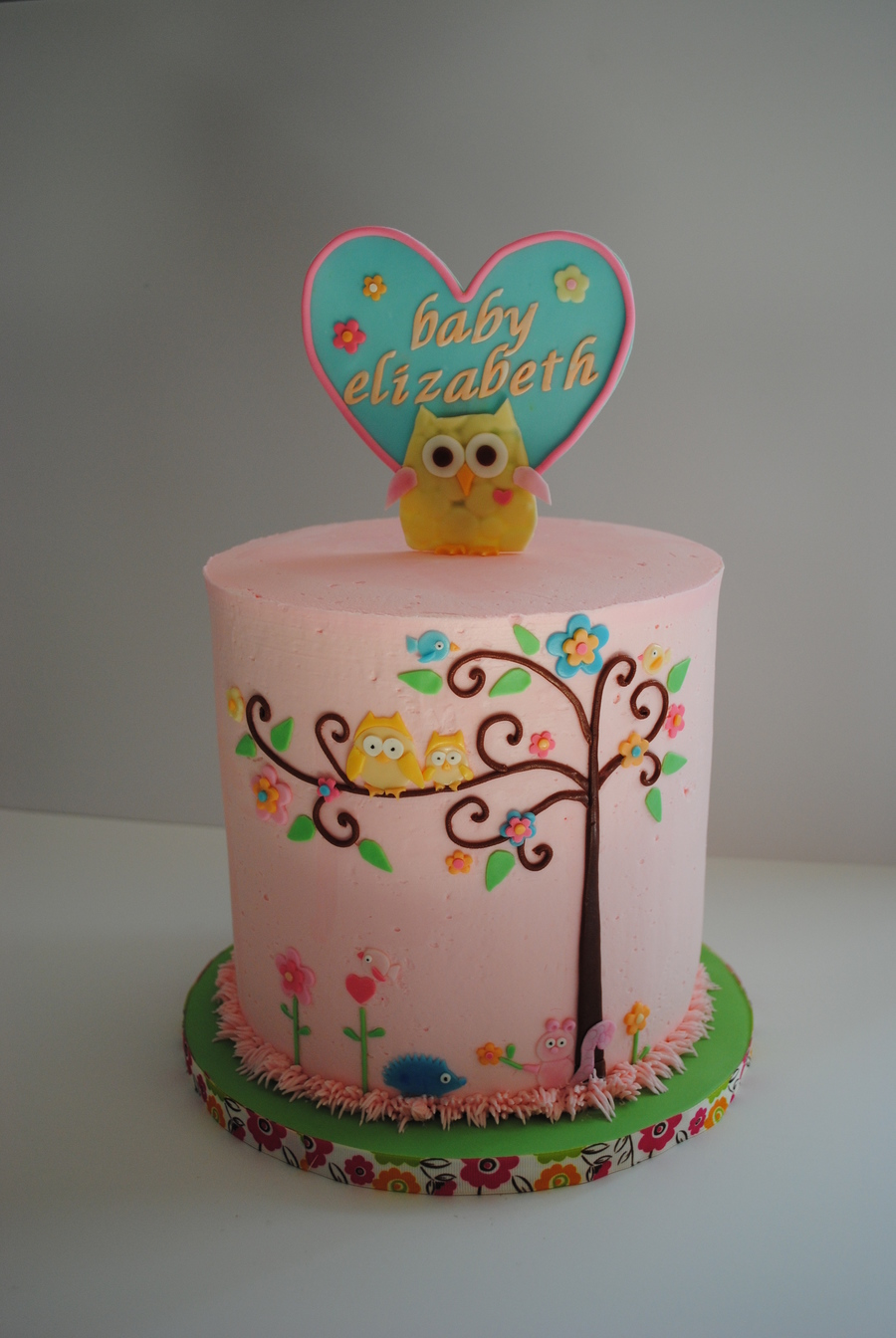 Happi Tree Baby Shower Based On The Nursery Theme Happi Tree Double Barrel Cake 8 High With Smbc Decorations Are Fondant And Gump  on Cake Central