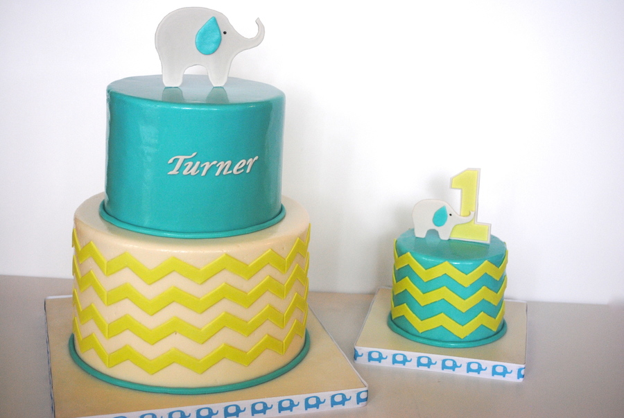 First Birthday Elephant/chevron Cake & Smash Cake on Cake Central