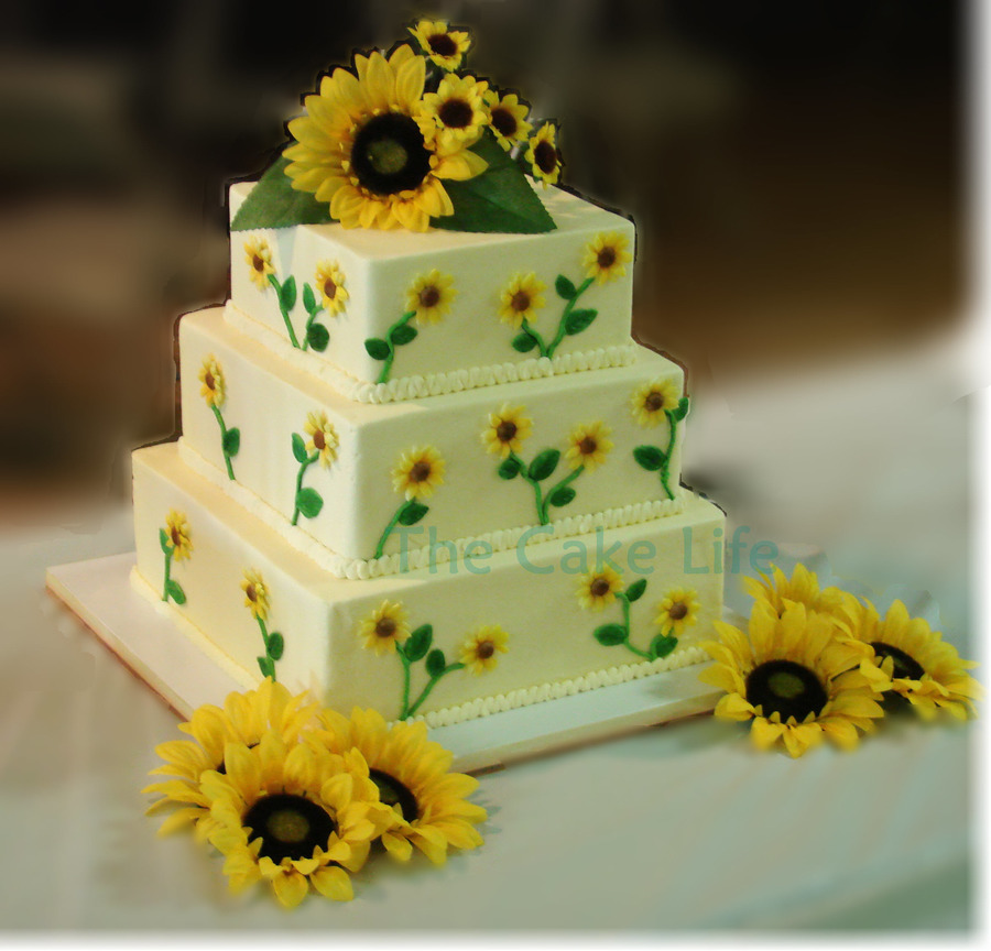 Square Sunflower Themed Wedding Cake on Cake Central