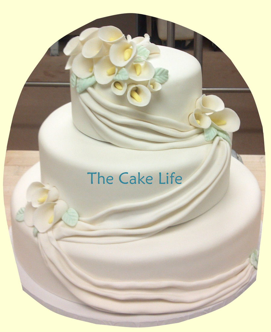 Round Wedding Cake With Swags And Gumpaste Calla Lilies  on Cake Central