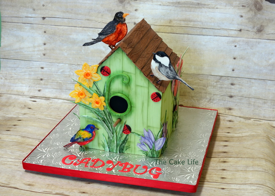Bird House Cake With Hand Painted Birds And Flowers on Cake Central